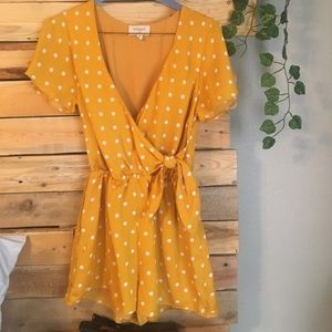 Everly yellow polka dot romper